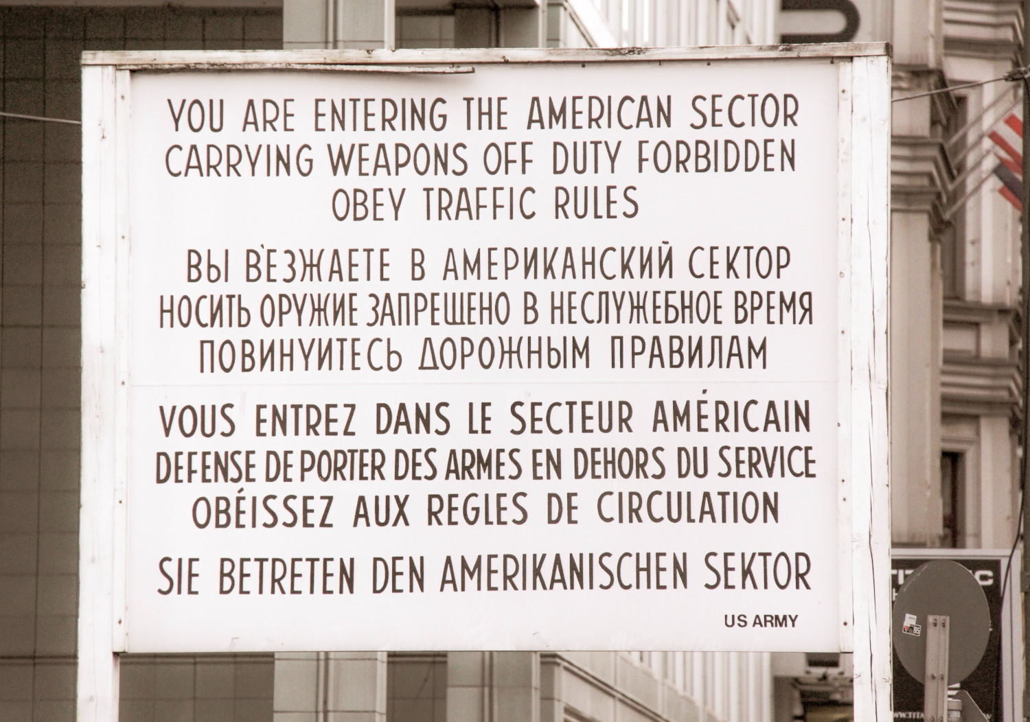 Sign proclaiming American zone