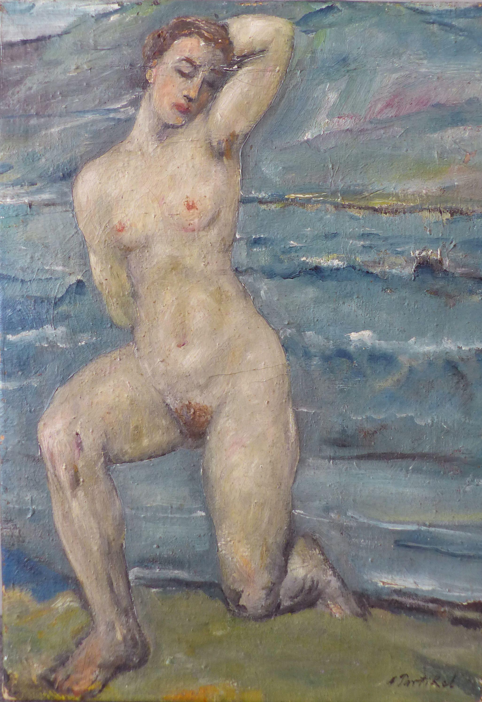 Kneeling Nude by Alfred Partikel