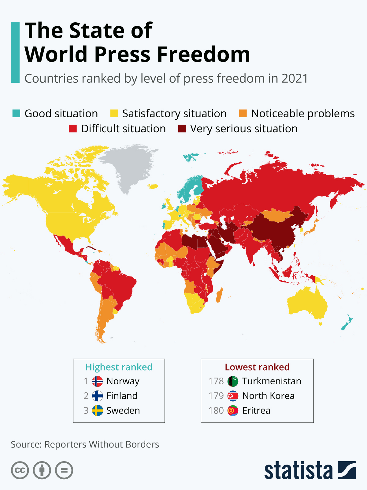 Map Showing The State of World Press Freedom