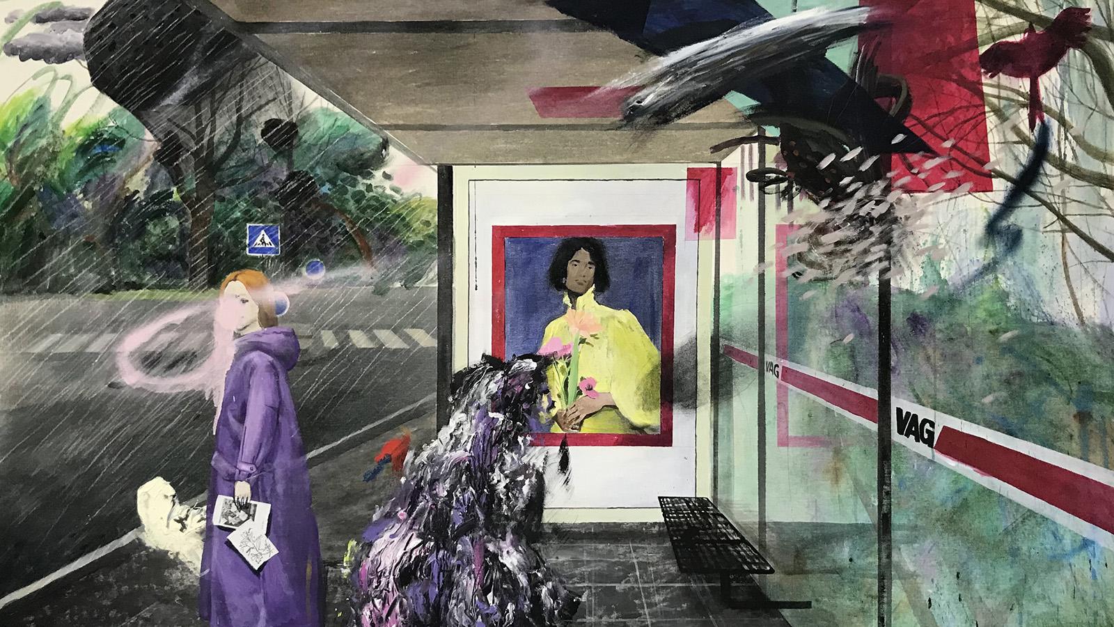 Bingstrasse, 2021, Mixed media on canvas, 159x205cm